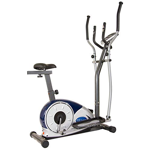 Body Champ 2 in 1 Cardio Dual Trainer/Elliptical Workout and Upright Exercise Bike with Heart Rate, Computer Resistance BRM3671 (Renewed)