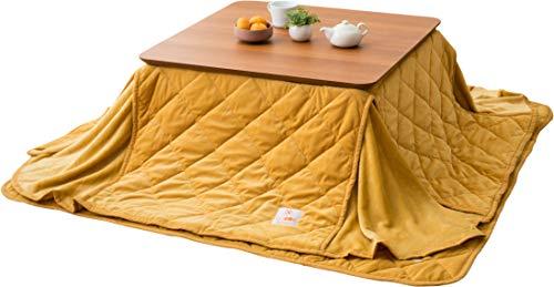 EMOOR Microfiber Space-Saving Kotatsu Futon Set (Comforter & Rug), Square-Type, Yellow