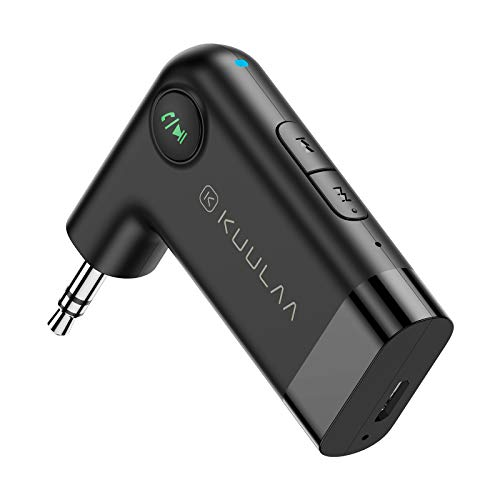 Bluetooth 5.0 Receiver, Kuulaa Car Bluetooth Adapter Portable Wireless Audio Aux Bluetooth Adapter for Car, Music, Speaker, Headphones, Hands-Free Bluetooth Car Kits with Microphone- 2021 Upgrade