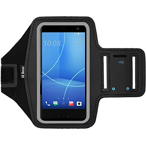 i2 Gear Running Armband Compatible with HTC U11 Life, HTC 10, One M8, M9 & Desire 626 - Workout Phone Holder, Reflective (Black)