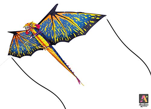 AmaZing Kites 3D Nylon Dragon Kite with 80' Wingspan (6 ft 8 in)