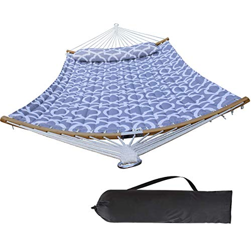 HENG FENG 2 Person Double Hammock Quilted Fabric with Detachable Pillow and Curved Bamboo Spreader Bars, Grey