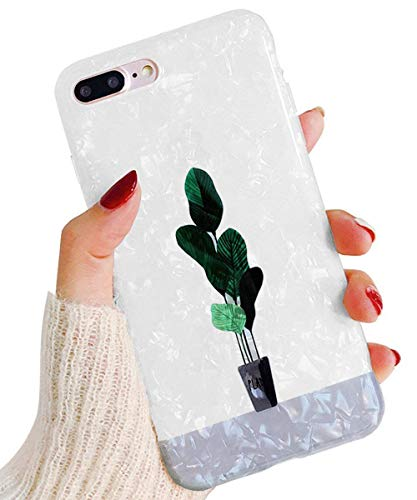 J.west iPhone 8 Plus/7 Plus Case, Luxury Sparkle Glitter Pearly-Lustre Slim Flexible Clear Shockproof TPU Glossy Soft Rubber Silicone Cover Protective Phone Case for iPhone 7 Plus /8 Plus 5.5' Plant