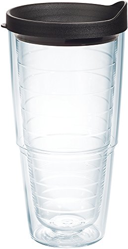 Tervis 1030310 Colorful Insulated Tumbler with Black Lid, 24oz, Clear