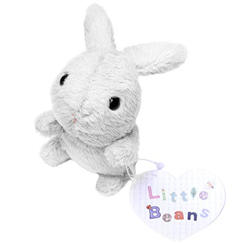 Stuffed Animal Plush Toy – Little Beans Stuffed Rabbit 3.5'– Hand-Size Bunny – 6 Available Colors – Lovely Design – For Boys & Girls – 100% Safe and Easy to Clean - Great for Birthdays (White)