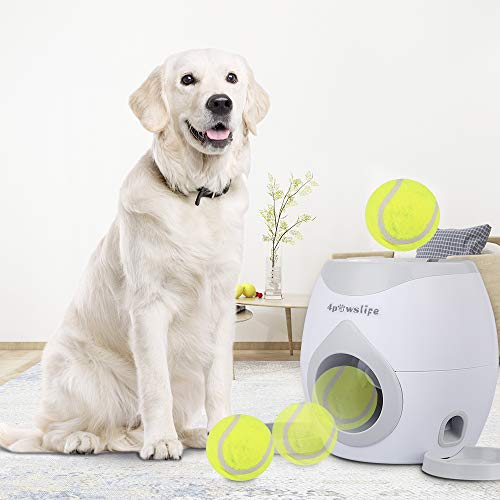4pawslife Interactive Pet Behavior Training Dog Feeder, Dog Ball Fetch and Treat Dispenser Treat Toy Tennis Ball Reward Machine for Dogs, Funny Dog Foraging Play Toy