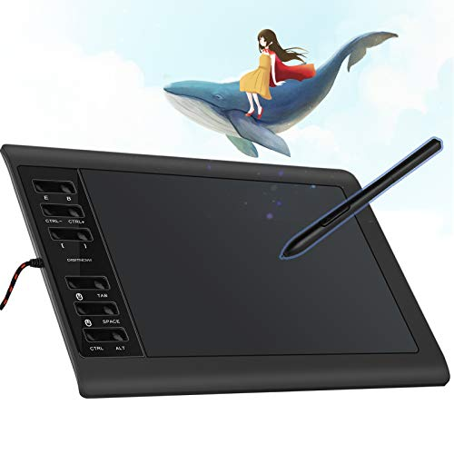DIGITNOW 10 x 6.25 Inch Digital Graphics Drawing Tablets, Ultrathin Computer Drawing Pen Display Tablet with Battery-Free Stylus & 12 Shortcut Keys (8192 Levels Pressure Sensitive)