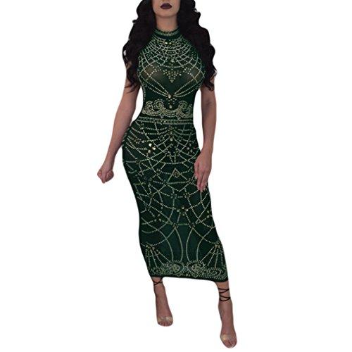 UOKNICE Women Sexy Clubwear Bodycon Sleeveless Party Dress Long Dress Perspective Club Green