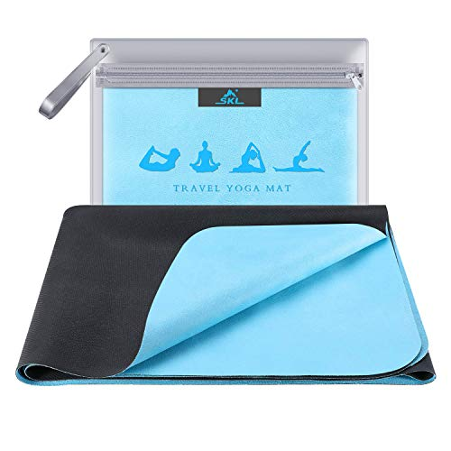 SKL Travel Yoga Mat - Foldable 1/16 Inch Thin Hot Yoga Mat Non Slip Sweat Absorbent Fitness & Exercise Mat for Yoga, Pilates, Floor Exercises, Coming with Carrying Bag