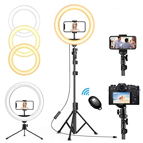 12' Selfie Ring Light with 63' Adjustable Tripod Stand & 2 Cell Phone Holders, QI-EU Dimmable Led Camera Ringlight for Live Stream/Makeup/YouTube/TikTok/Photography for iPhone and Android