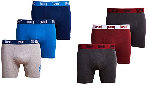 TapouT Mens Athletic Underwear - 6-Pack Stretch Athletic Boxer Briefs Training Breathable Athletic Fit No Fly