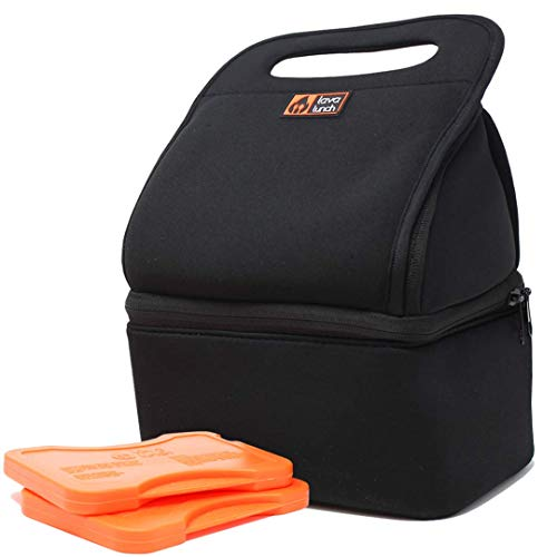Lava Lunch Lunch Box Insulated Lunch Bag   Large Heated & Cooled Double Deck Lunch Box for Men, Women, Kids (Black)   Comes with Heat Packs (Lava Rocks)