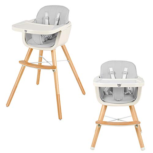 BABY JOY Convertible Baby High Chair, 3 in 1 Wooden Highchair/Booster/Chair with Removable Tray, Adjustable Legs, 5-Point Harness, PU Cushion and Footrest for Baby, Infants, Toddlers (Gray)