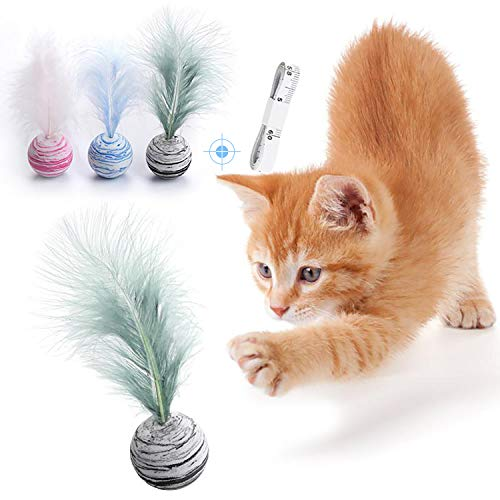 Kumikiwa Interactive Cat Ball Toys with Feather 3 PCS, Brightly Colored Cat Toys Satisfies Kitty's Hunting, Chasing & Exercising Needs