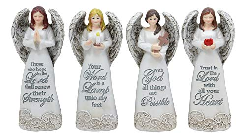 Ebros 4.25' Tall Colorful Divine Heavenly Angels with Inspirational Scriptures Figurine Set of 4 Angelic Hosts of Prayer and Faith Statues Home Decor Christmas Graduation Housewarming Gifts