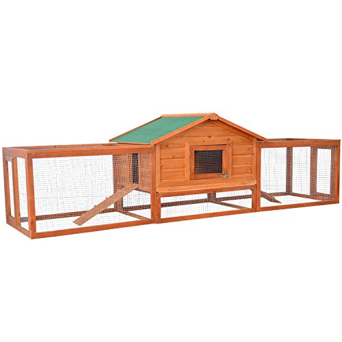 PawHut 122' Outdoor Wooden Rabbit Hutch Small Animal Enclosure With Outdoor Runs Ramps