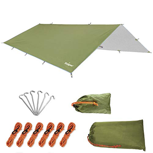 Unigear Hammock Rain Fly Waterproof Tent Tarp, UV Protection and PU 3000mm Waterproof, Lightweight for Camping, Backpacking and Outdoor Adventure