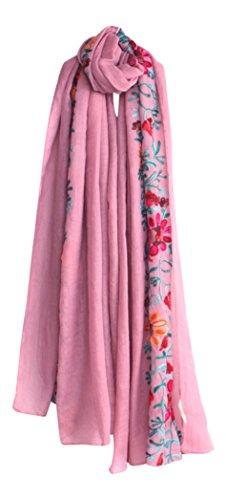 LuluVin Women's Scarf Cotton Embroidered Lightweight Shawl Wrap (Light Pink)