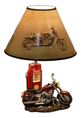 Ebros Vintage Old Fashioned Retro Red Motorcycle by Classic Gas Pump Desktop Table Lamp 19'Tall Nostalgic Highway Route 66 Road Runner Home Decor Shelf Mantlepiece Lighting Accent
