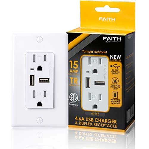 Faith 4.6A USB Outlet High Speed Charger, 15A Tamper-Resistant Receptacle with Wall Plate, 2 Outlets & 2 USB Ports, Compatible with iPhone, iPad, Android, Samsung Devices & More, 1-Pack, White
