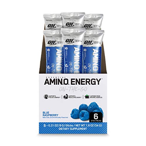 Optimum Nutrition Amino Energy - Pre Workout with Green Tea, BCAA, Amino Acids, Keto Friendly, Green Coffee Extract, Energy Powder - Blue Raspberry, 6 Count