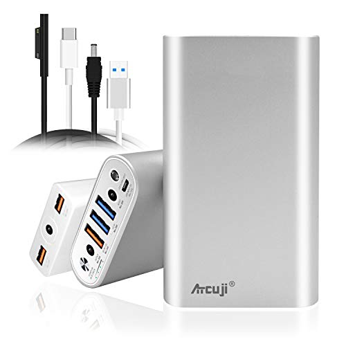 Atcuji 26800mAh Surface Power Bank + Slim Adapter 140W Power Delivery for MS Surface Book 2 Laptop Portable Charger Surface Pro X 7 6 5 4 3 2 External Battery iPhone Samsung Galaxy More(TSA Approved)