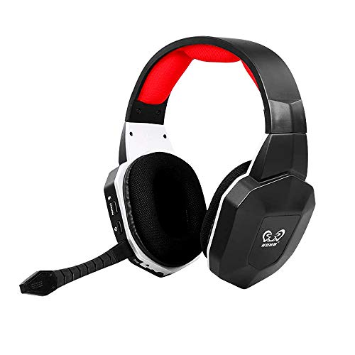 HUHD Wireless Headset 2.4Ghz Optical Stereo Sound with Detachable Wireless Gaming Headset Microphone Noise Cancelling for PS4 and PC (Not Support Xbox)