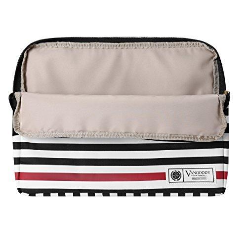 Vangoddy BEIDHA 13.3 inch Laptop Tablet Sleeve Black White Accent Stripe Pattern