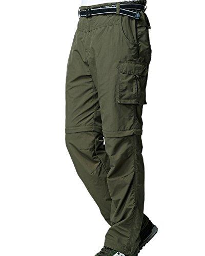 Mens Hiking Pants Convertible Zip Off Fishing Travel Safari Quick Dry Lightweight Trousers #225,Army Green,XXXL 42