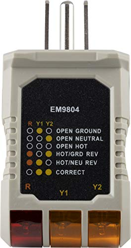 Power Gear 3 Wire Receptacle Tester, Outlet Tester, 6 Visual Indications, Light Indicator, UL Listed, Gray, 50542