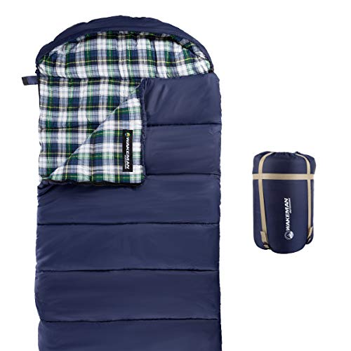 Wakeman Outdoors Sleeping Bag – 32F Rated XL 3 Season Envelope Style with Hood for Outdoor Camping, Backpacking and Hiking with Carry Bag (Navy)