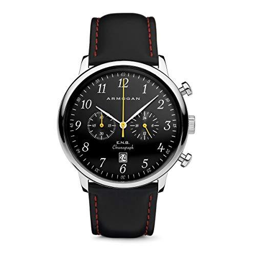 Armogan E.N.B - Silver Black S37 - Men's Chronograph Watch Black Suede Leather Strap