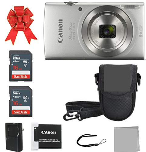 Crystal Canon Elph 180 Point and Shoot Camera Bundle (Silver Bundle)