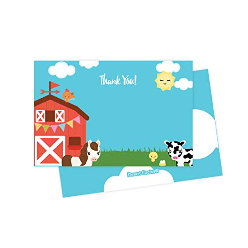 Farm Barnyard Thank You Cards (25 Count) With Envelopes and Seal Stickers Bulk Birthday Party Bridal Blank Graduation Kids Children Boy Girl Baby Shower (25ct)