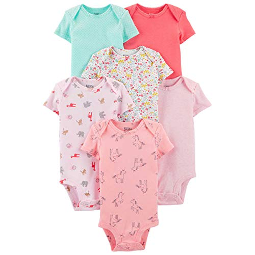 Carter's Precious Firsts Baby Girls/Boys Short-Sleeve Bodysuits 6-Pack (Pink, 3 Month)