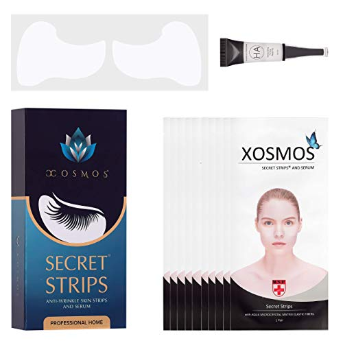 NEW Secret Strips PATENTED Wrinkle Reducing SKIN & Anti-Aging Under EYE Strips, Crows Feet FACE Patches with Hyaluronic Acid Serum Rejuvenation