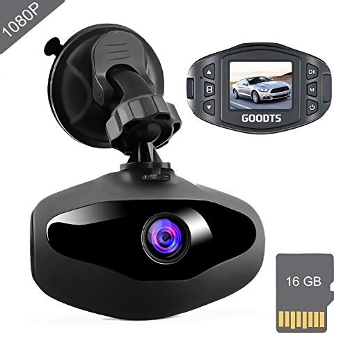 Dash Cam FHD 1080P Car Camera, GOODTS 1.5 inch Mini Screen Car Dash Camera, Dashboard Camera with G-Sensor Loop Recording Night Vision WDR 170°Wide Angle Motion Detection (16GB Card Included)