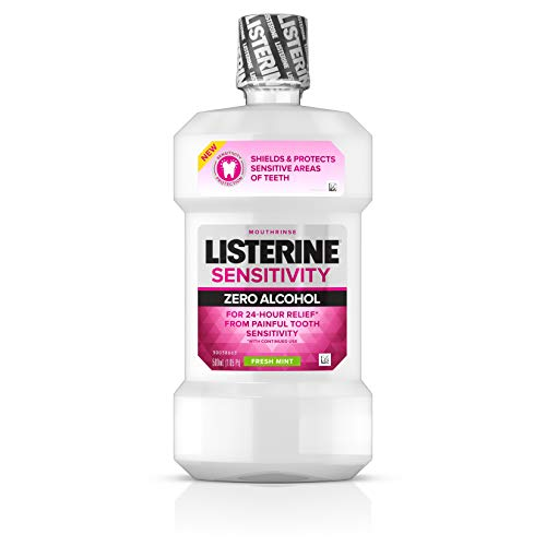 Listerine Sensitivity Mouthwash, 24-HR Tooth Sensitivity Relief & Protection, Alcohol-Free Formula in Fresh Mint Flavor, 500 mL (Pack of 2)