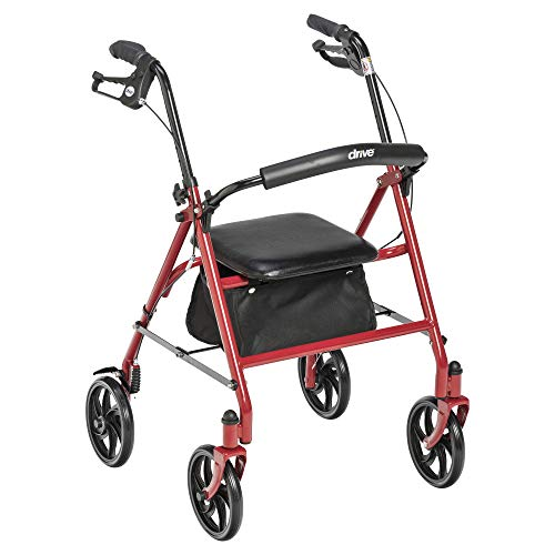 Drive Medical 10257RD-1 Four Wheel Rollator with Fold Up Removable Back Support, Red