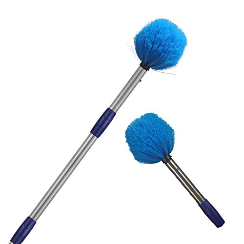 MIYA Cobweb Duster - High Reach Cobweb Duster with 8ft Lightweight Stainless Steel Pole - Cobweb Brush with Medium-Stiff Bristles for Outdoor and Indoor Cleaning