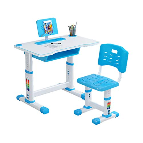 Kids Desk and Chair Set,Height Adjustable Children Study Desk Table Chair Set Bookstand with Spacious Storage Drawer Pen Container (Blue)