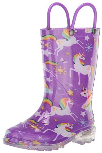 Western Chief Girls' Waterproof Rain Boots That Light Up Each Step, Rainbow Unicorn, 8 M US Toddler
