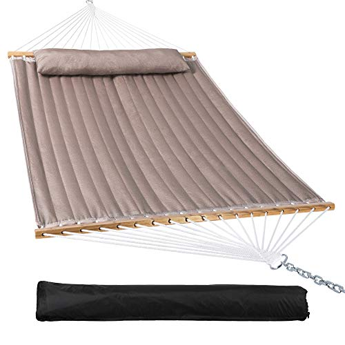 Mansion Home Two Person Hammock with Detachable Pillow, Double Hammock with Spreader Bar,Strong Bamboo Wood for Patio,Garden,450 Lbs, Light Brown