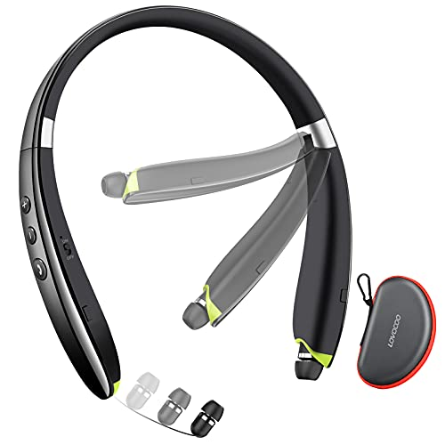 Bluetooth Headset, LOVOCOO [2021 Upgraded] Neckband Bluetooth Headphones with Retractable Earbuds, Noise Cancelling Stereo Wireless Earphones with Mic for Sports Office (with Carry Case)