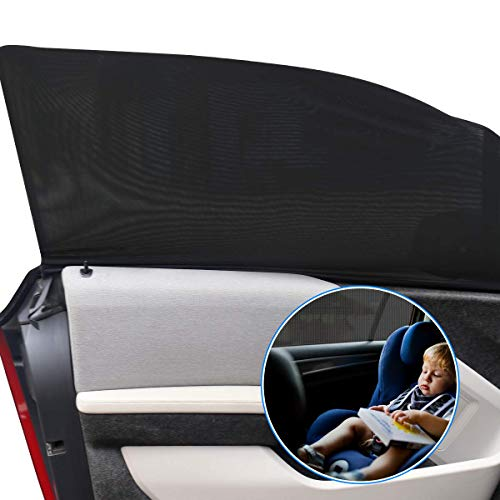 Car Window Shade, Universal Car Side Window Sun Shades, Breathable Sun Shades Mesh Shield, Privacy Protection for Auto Back Passenger/Baby/Pets(2Pack)