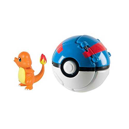 DVNBS Pokemon Throw 'N' Pop Poke Ball with Pokemon Action Figures Pokemon Toys for Kids (Charmander and Great Ball)