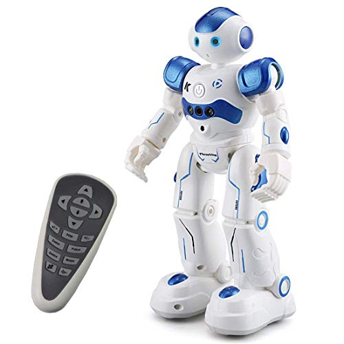 Threeking Robots Gifts for 8+ Years Old Kids RC Robot Toys Programmable Smart Sensing Music Robot Toy Birthday Gift Present Indoor Toys - Male Voice