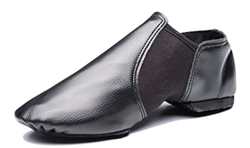 Cheapdancing Breathable Practice Jazz Shoes Soft-Soled Leather Dance Shoes, Black (10.5 W / 9.5 M)