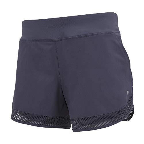 Layer 8 Women's Knit and Woven Quick Dry Two in One Running Yoga Work Out Short with Compression Shorts Underneath (Small, Dusky Dawn)
