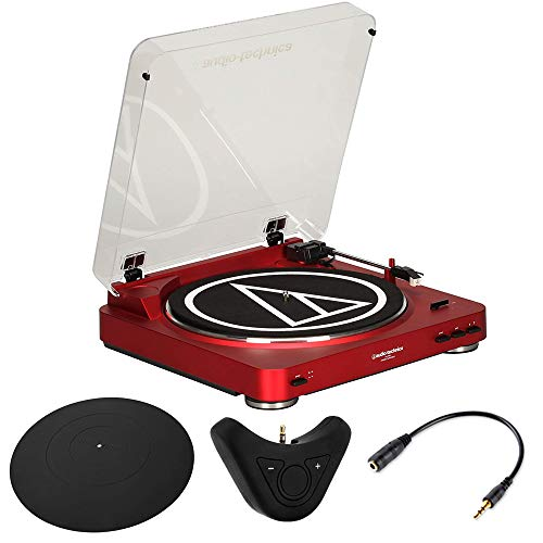 Audio-Technica AT-LP60RD Fully Automatic Stereo Turntable System (Red) Bluetooth Bundle